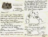 """Dopis E. Destinnové sestře s karikaturou """"Haló prohibice!"""""""