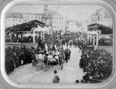 Průvod u příležitost Jubilejní výstavy v J. Hradci 1888