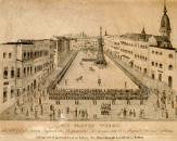 Litografie jindřichohradeckého hlavního náměstí z roku 1840